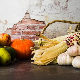 Gemüsezusammensetzung mit kürbis