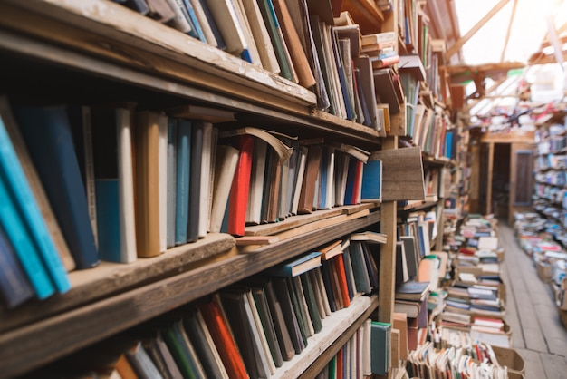 Gemütliche alte bibliothek. regale mit alten büchern.