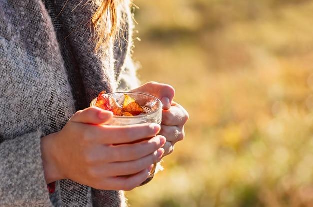 Gemütlicher herbst. eine tasse tee in den weiblichen händen gegen den hintergrund einer herbstlandschaft