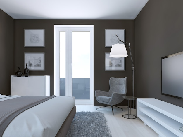 Gemütliches braunes schlafzimmerdesign mit weißen und grauen möbeln