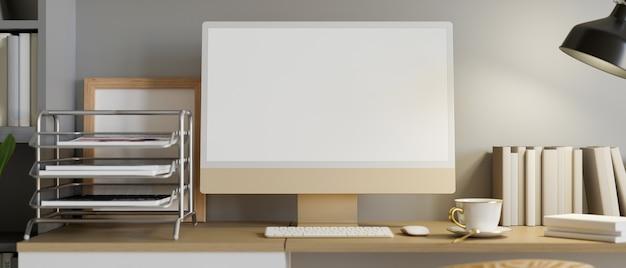 Gemütliches büro-schreibtisch-interieur mit desktop-computermodell-bürobedarf und dekoration 3d-rendering