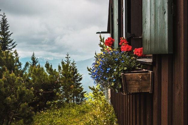 Gemütliches holzhaus mit blumenkastengarten und bäumen traditionelles kleines dorf in den bayerischen alpen