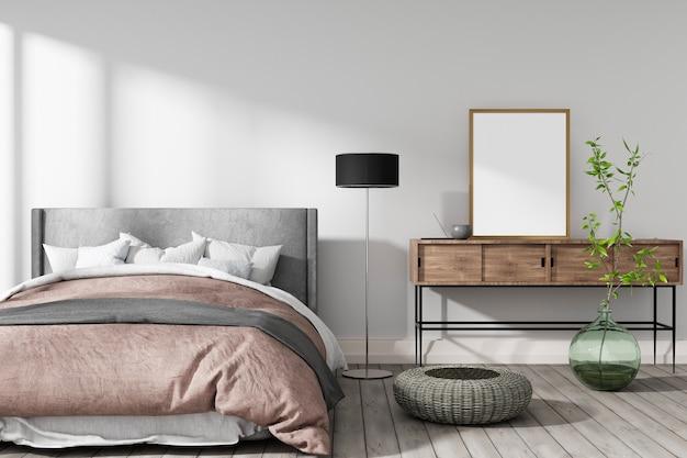 Gemütliches schlafzimmer in warmen farben mit weißer wand, einer vase und 3d-darstellung der grünen pflanze