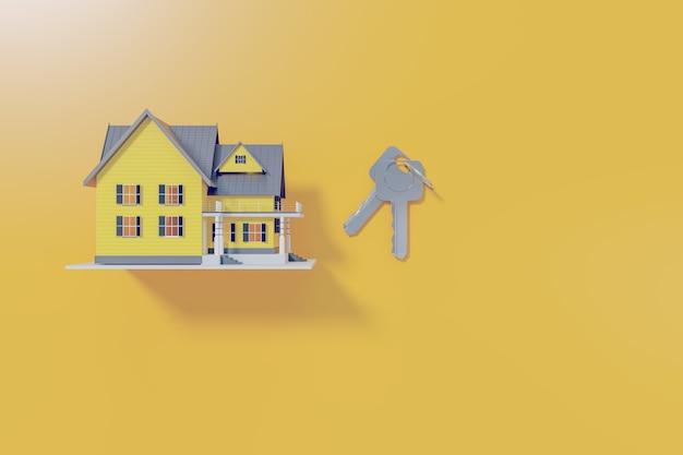 Genehmigtes wohnungsbaudarlehen mit schlüsselbund auf gelbem hintergrund, 3d-darstellung