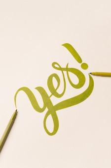 Genehmigungsmotivationssatz handgeschrieben mit grüner markierung