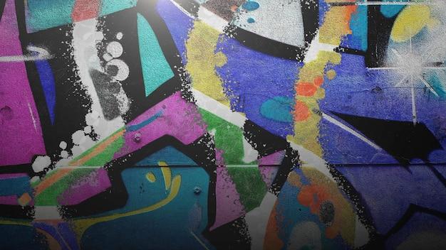 Generische grunge-wand des gebäudes auf der straße am sommertag. moderner und luxuriöser 3d-illustrationsstil für hipster- und cyberpunk-grunge-vorlage