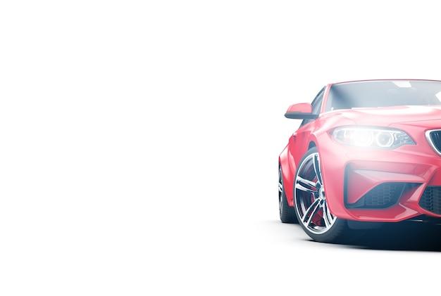 Generisches rotes sportauto ohne markenzeichen, isoliert auf weiß
