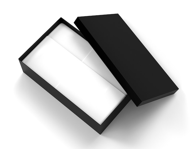 Geöffnete black-box-verpackung 3d-render-illustration