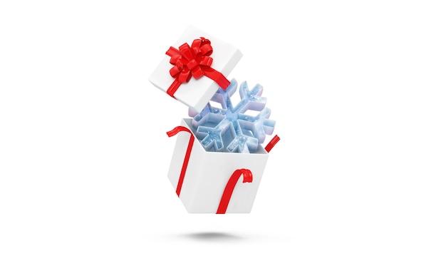 Geöffnete geschenkbox mit eisiger schneeflocke auf weißem hintergrund
