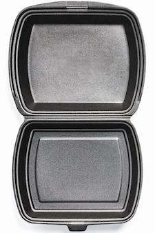 Geöffnete lunchbox einweg, schwarz für lebensmittel-lieferservice auf weißem hintergrund
