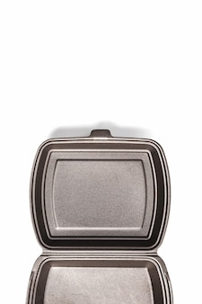 Geöffnete lunchbox einweg, schwarz für lebensmittel-lieferservice