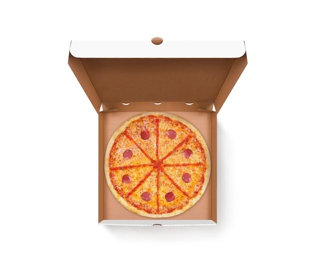 Geöffnete pizzaschachtel mit leckerem pizza-design verspotten draufsicht isoliert