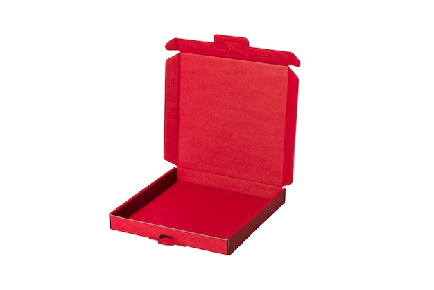 Geöffnete rote karton-pizzaschachtel, lebensmitteletui