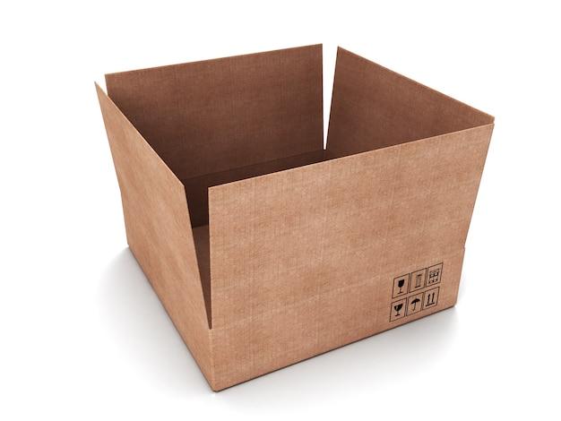 Geöffneter karton isoliert