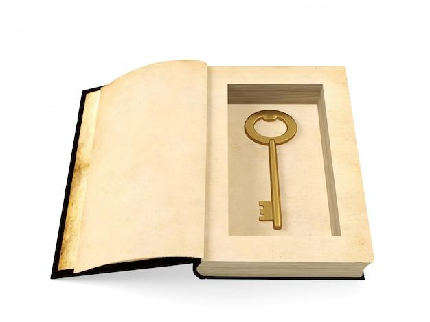 Geöffnetes altes papierbuch mit dem retro- goldenen schlüssel nach innen versteckt, geheimhaltungskonzept