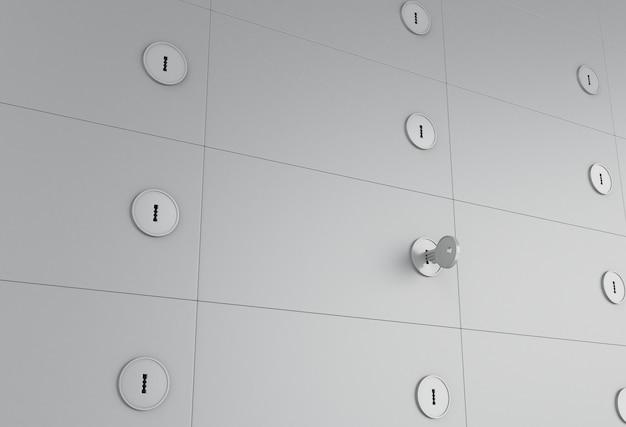 Geöffnetes schließfach 3d mit schlüssel auf schlüsselloch.