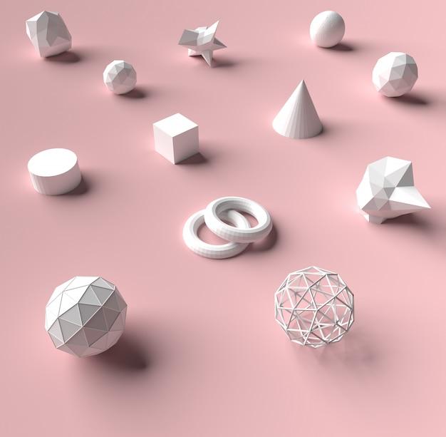 Geometrie der wiedergabe 3d auf rosa farbhintergrund und -beschaffenheit.