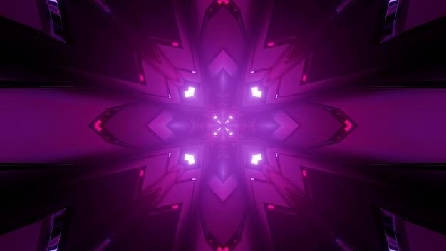 Geometrische 3d-illustration von lila rautenfiguren mit gekrümmten seiten, die abstraktes symmetrisches mandalamuster bilden