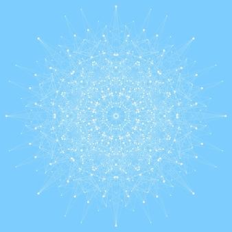 Geometrische abstrakte runde form mit verbundener linie und punkten. grafische komposition für ihr design. illustration
