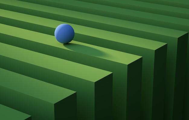 Geometrische blaue kugel, die über ein abstraktes hintergrundkonzept des grünen streifens rollt render