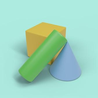 Geometrische blöcke 3d-muster mit mintgrünem hintergrund 4