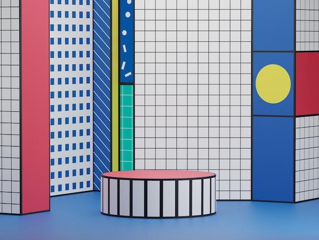 Geometrische bühnenpodest-gemusterte plattform für die produktpräsentation auf bunt gemustertem hintergrund