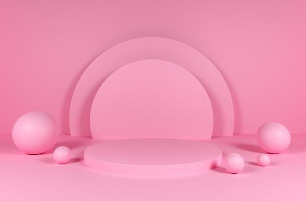 Geometrische figuren des 3d podiumsballs rosa farben