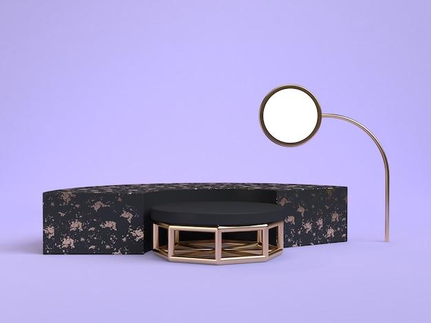 Geometrische form 3d des schwarzen podiums, die purpleviolet szene überträgt