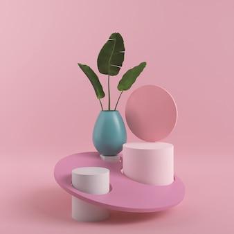Geometrische form der abstrakten rosa farbe, moderne minimalistische podiumsanzeige oder schaufenster, 3d-darstellung