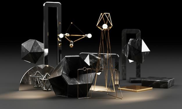 Geometrische form der schwarzen marmorbeschaffenheit