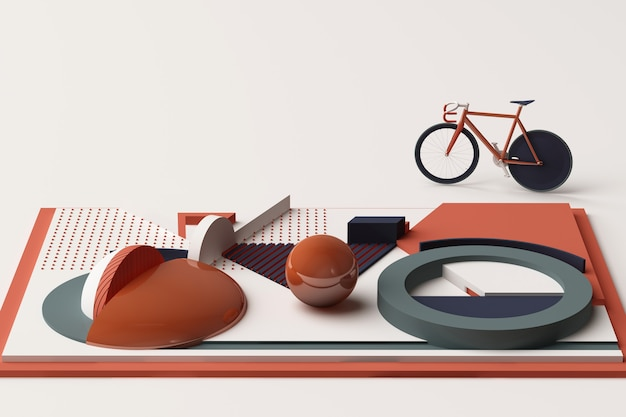 Geometrische form des fahrrad-sport-konzepts im orange und blauen farbton. 3d-rendering