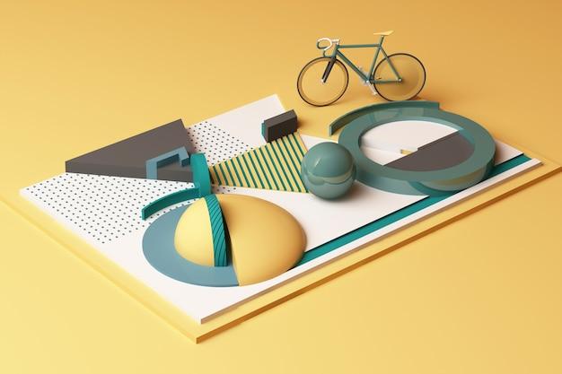 Geometrische form des fahrradsportkonzepts im gelben und grünen farbton. 3d-rendering