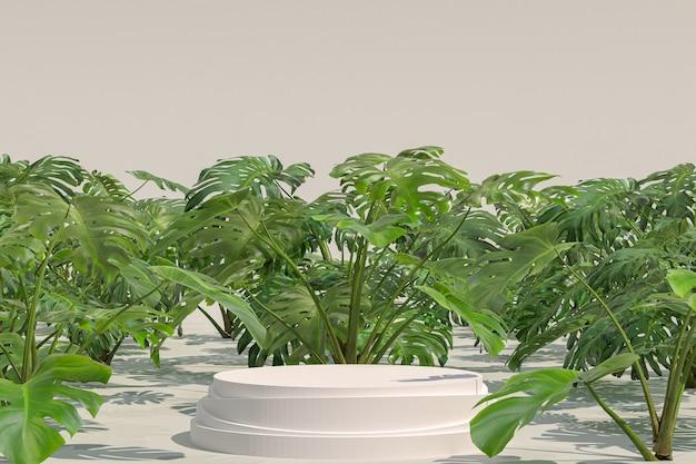 Geometrische form des weißen podiums auf dem natürlichen garten monstera deliciosa zur anzeige der produkte
