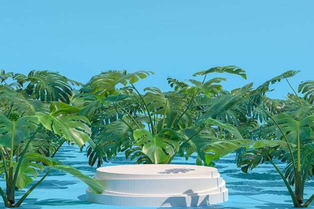 Geometrische form des weißen podiums auf monstera deliciosa natürlichem garten für die anzeige von produkten, grüner abstrakter unschärfehintergrund, soziale medienbanner der leeren kopienraumförderung, 3d-darstellung