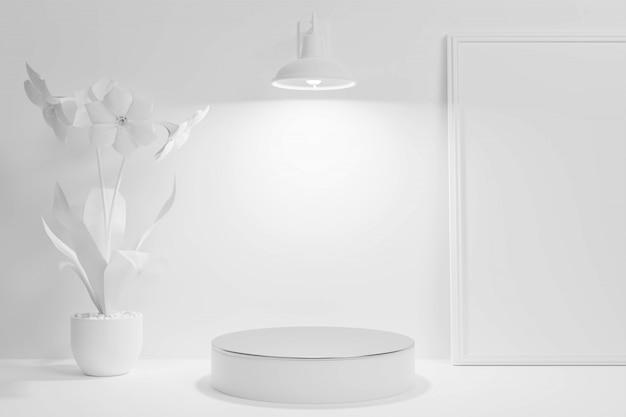 Geometrische form minimalistische podium 3d-innenszene für produktanzeige schaufenster