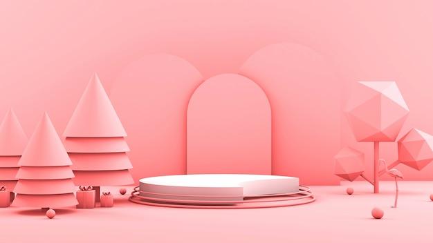 Geometrische form minimalistischer laufsteg 3d innenbühne mit weihnachtsbäumen und geschenken