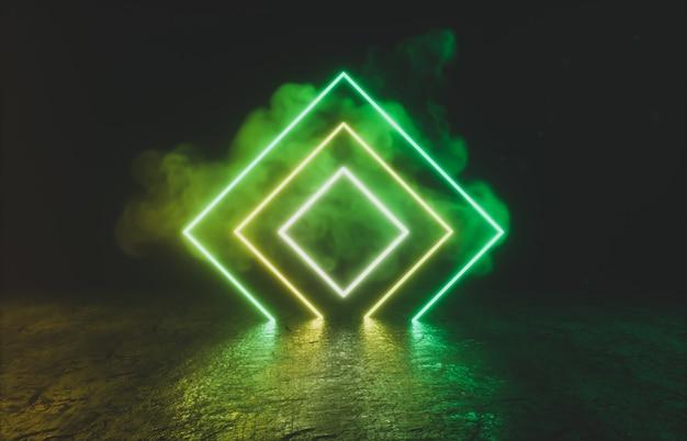 Geometrische form mit neonlicht auf schwarzem raum.