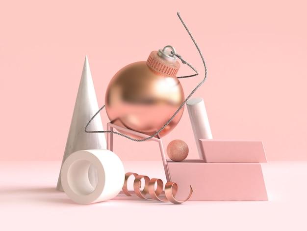 Geometrische form weihnachtskonzept-dekoration 3d der geometrischen form des ballbandes