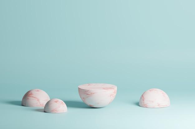 Geometrische formen der marmorkoralle auf einem hellblauen hintergrund in der 3d-modellierungsszene