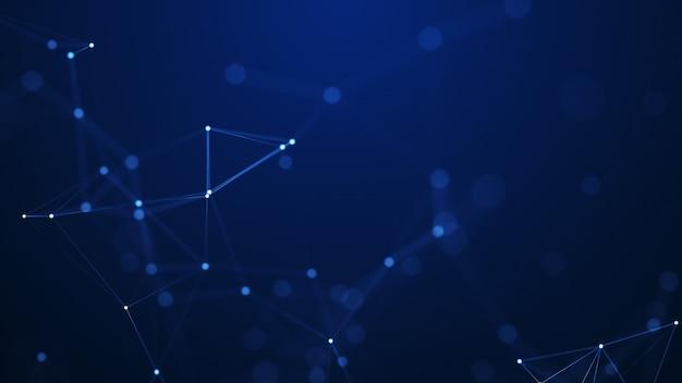 Geometrische formen des abstrakten plexus. anschlusskonzept. hintergrund des digital-, kommunikations- und technologienetzwerks.