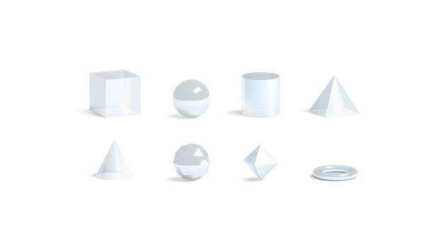 Geometrische formen des leeren weißen glases gesetzt, lokalisiert