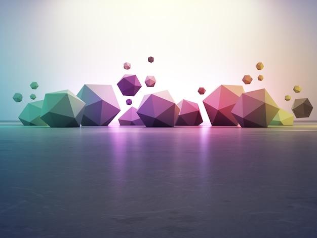 Geometrische formen des regenbogens auf grauem betonboden mit steigungswand in der halle oder im modernen ausstellungsraum.