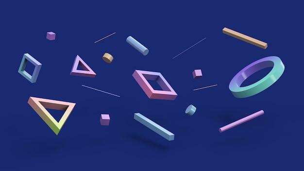 Geometrische formen fliegen blau