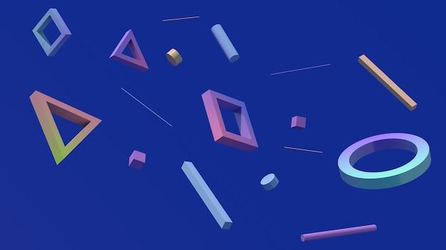 Geometrische formen fliegen blauem hintergrund hartes licht abstrakte darstellung 3d render