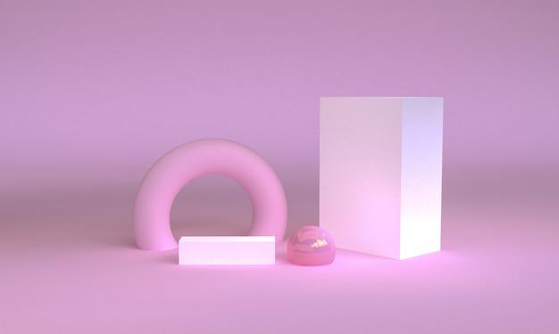 Geometrische formszene minimal, wiedergabe 3d.