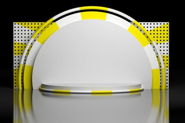 Geometrische komposition in gelb weißen farben auf schwarzem hintergrund