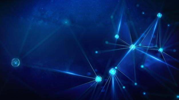 Geometrische landschaft und futuristische digitale blockchain-fintech-technologie.