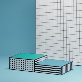 Geometrische plattformen mit bühnenmuster für die produktpräsentation auf blau gemustertem hintergrund