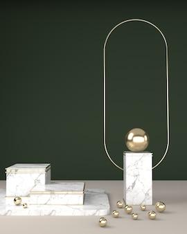 Geometrische quadratische marmorstruktur, kugelförmige kugeln und ovale rahmengoldoberfläche auf einem grünen hintergrund