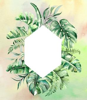 Geometrische rahmenillustration der tropischen blätter des aquarells mit aquarellhintergrund
